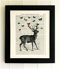 ART PRINT ON OLD ANTIQUE BOOK PAGE, Stag, Butterfly, Birds, Dragonfly, 4 for 3