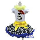 5th Birthday Cowgirl Pettiskirt Red Hat White Short Sleeves Top 2pcs 1-7Y