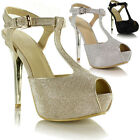 New Ladies Womens High Heel Stiletto Peeptoe T-Bar Evening Glitter Sandals Shoes