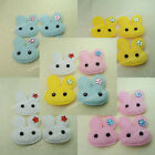 80 White Pink Yellow Blue Bunny Padded Furry Rabbit Applique w/ Rhinestone 4cm
