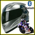 Torc FULL FACE MOTORCYCLE BLUETOOTH HELMET SILVER BLUE STAR DOT Approve