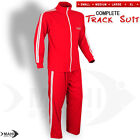 Mens Tracksuit Full Zip Jogging Running Sports Top and Trouser RED - S,M,L,XL
