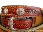 Nocona Western Mens Belt Leather Cross Concho Overlay Copper N2429908