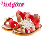 Girls Infant Toddler - Leather Squeaky Sandals - Open Toe - Red / Peach & Beige