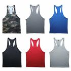 Mens Plain Blank Racerback Gym Singlet T-Back Bodybuilding Tank Muscle Fitness