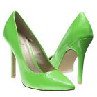 Neon Green Patent Leather Pointy Toe Stiletto High Heel Pumps Classic US 5-10