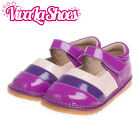 Girls Toddler - Leather Squeaky Shoes - Patent Purple with Pink & Purple Trim