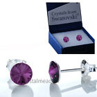 1 Pair 925 Sterling Silver Stud Earrings Genuine Swarovski® Crystal 6mm RIVOLI