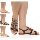 WOMENS LADIES FLAT FLOWER BEADED SUMMER ANKLE STRAP FLIP FLOP SANDALS SIZE