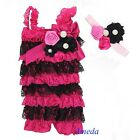 Baby Hot Pink Black Rosettes Pearl Lace Petti Romper Crystal Headband NB-3Y