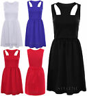 New Womens Sleeveless Flared Cut Out Skater Dress Ladies Frankie Short Party Top