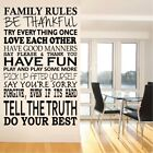 FAMILY RULES wall sticker be thankful large quote decal stickers art vinyl home