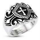 Stainless Steel Royal Cross Shield Decorated Wide Cast 18mm Ring R470