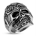 Stainless Steel Decorated Pentagram Gear Skull Wide Cast 30mm Ring R489