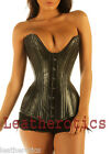 Genuine Leather DOUBLE STEEL BONED corset basque bustier corsagen clevage 8258