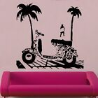 Vespa At The Beach Vinyl Wall Sticker Art Scooter Retro Lambretta
