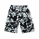 Men Board Shorts Swimwear Black Adjustable Waist Side Pocket Swim Trunk Blue Net