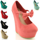 NEW WOMENS PLATFORM MARY JANE BOW LADIES PARTY PROM HIGH HEEL WEDGE SHOES SIZE
