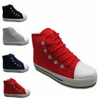 Ladies Plimsolls Plimsoll Canvas Hi High Top Trainers Creepers Shoes Uk size 3-8