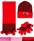 Infant / Child's HAT, SCARF, GLOVES INFANT SET in RED-BLUE with Rose Embroidery