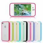 TPU Bumper Frame Matte Frosted Clear Back Cover Hard PC Case for iPhone 4 4G 4S