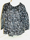 Women's Plus Size Pullover Long Sleeve Blouse in Black, Gray & White