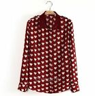 New European Style Women Red Heart Lapel Collar Long Sleeve Casual t Blouse Tops