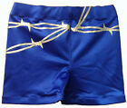 Blue Barbed Wire Design Biker Style Pro Wrestling Shorts, WWE TNA Impact ROH WCW