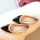 NEW Stunning Womens Patent Cow Leather Point Toe Stud Flat Shoes Sz 1-8(7736837)