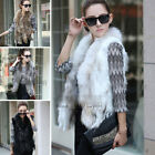 New Knitted Real Farms Rex Rabbit Fur Waistcoat Vest Gilet With Raccoon Collar