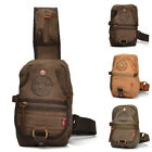 New Men's Vintage Canvas Cow Leather Chest Pack Shoulder Bag Easy to Carry