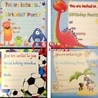 16 x Boys Birthday Invite Party Invitations 4 designs Ideal For Birthday - 4399