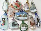 Hand painted sea glass Christmas tree decorations - Reindeer Snowman Robin Holly