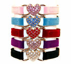 Cat Collar Kitten Crystal Diamante Heart Velvet Safety Elastic Bell 5 Colours