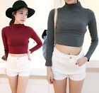 Korea Women Collared Halter Threaded Solid Slim Short Tops Bottoming Shirts 9356