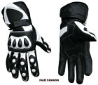 Full Cowhide Leather Sports Motorcycle Motorbike Racing Armoured Gloves White