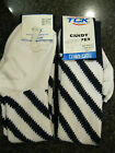 Twin City Knitting Over-Calf Footed Socks Candy Stripes White Navy R12CS Large