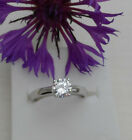 Sterling Silver Engagement Ring 0.75 ct Solitaire created Diamond Size L - R