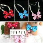 Dot Ribbon Bow Tie Golden Tone Flower Bell Necklace Collar For Puppy Pet Dog Cat