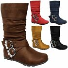 NEW Baby Toddler Strappy Rhinestone Buckle Flat Heel Wrinkle Slouch Suede Boots
