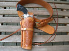 Gun Belt Combo - Tooled Holster - Natural - Genuine Leather - Specify Size