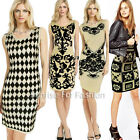 Womens Knitted Flower Print Shinny Party pullover Club Casual Sweater Mini Dress