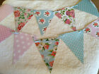 Handmade Bunting Floral Polka dot Gingham Shabby chic PVC Flags with Ribbon 10ft