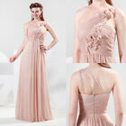 One Shoulder Flowered Formal Prom Party Ball Bridesmaid Evening Dress Size 6-20