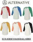Alternative Apparel Mens Eco Jersey Baseball 3/4 Sleeve T-Shirt S-2XL B-AA2089