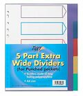 A4 5 and  10 Part Plastic Extra Wide FILE DIVIDERS for Punched Pockets