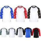 Mens Womens Military Star pattern 3/4 Sleeve Raglan Baseball Jersey TShirts Top