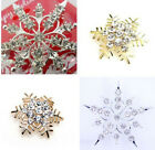 Stunning silver tone crystal frozen snowflake flower brooch hat pin