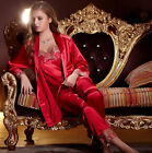 Free Shipping Red & Purple silk Blend 3pcs Women Sleepwear/Pajama Sets M-2XL