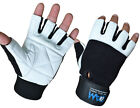 DAM GYM GLOVES WEIGHT LIFTING LEATHER WORKOUT WRIST SUPPORT GLOVE BLACK WHITE